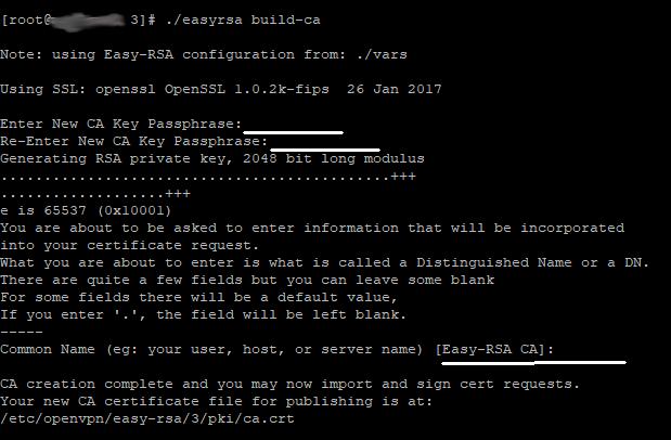 Скрин - генерация ключа центра сертификации для VPN